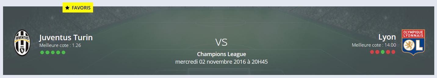 La fiche pour votre pronostic Juventus Turin Lyon Ligue des Champions !